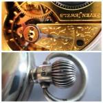 17 ceas buzunar Elgin argint mecanism Elgin 151-detalii