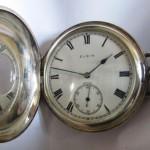 18 ceas buzunar Elgin argint mecanism Elgin 151